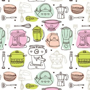 Kitchen appliances coffee maker cooking pot and pan restaurant illustration icon print