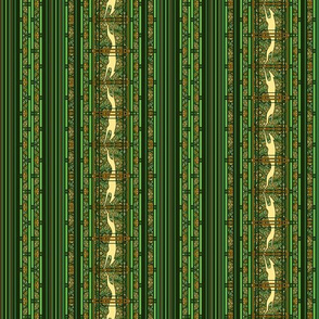 Running Greyhound Stripes, Green and Yellow