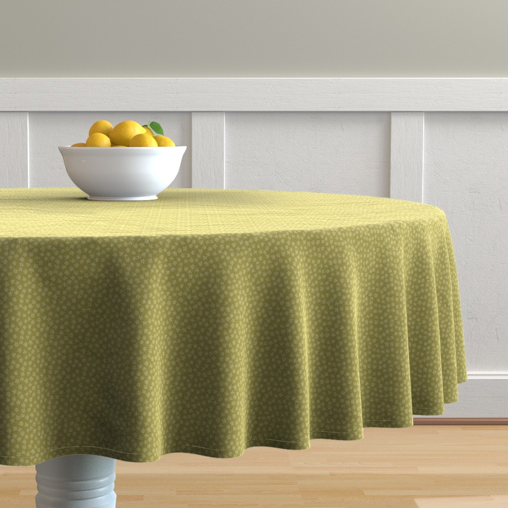 Malay Round Tablecloth featuring Eucalyptus coordinate olive by cindylindgren