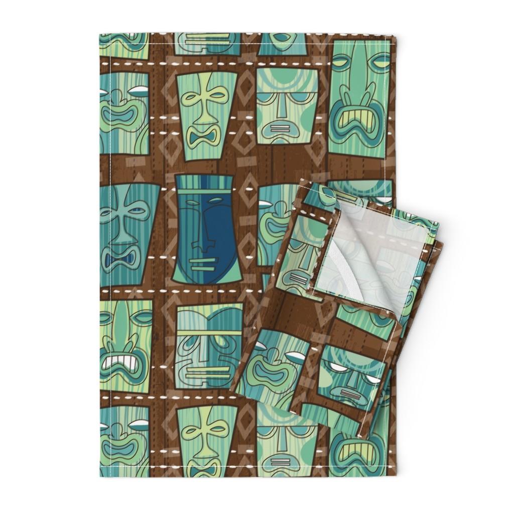 Orpington Tea Towels featuring Tiki Freaks by cynthiafrenette
