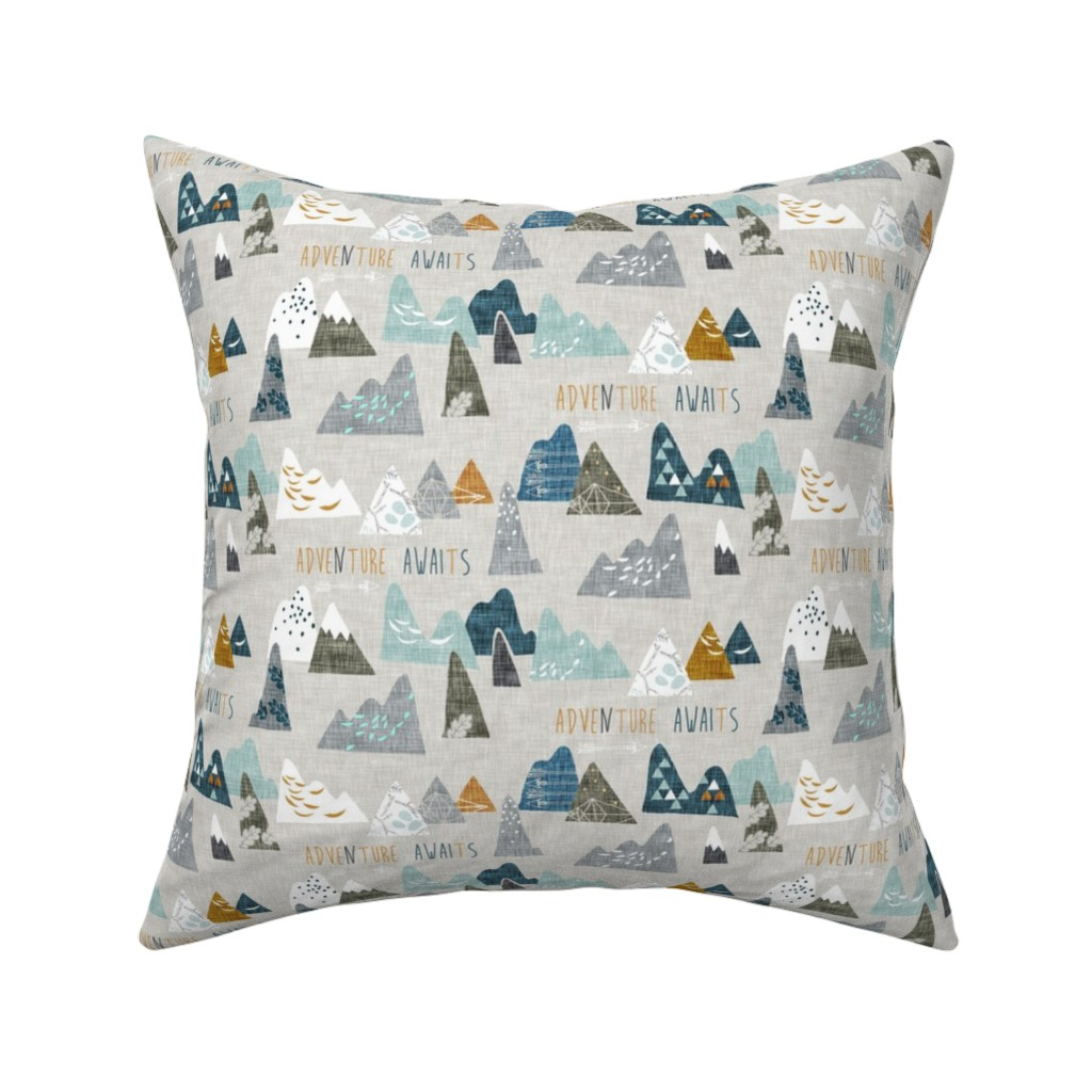 Catalan Throw Pillow featuring Adventure Awaits (earth) SMALL by nouveau_bohemian