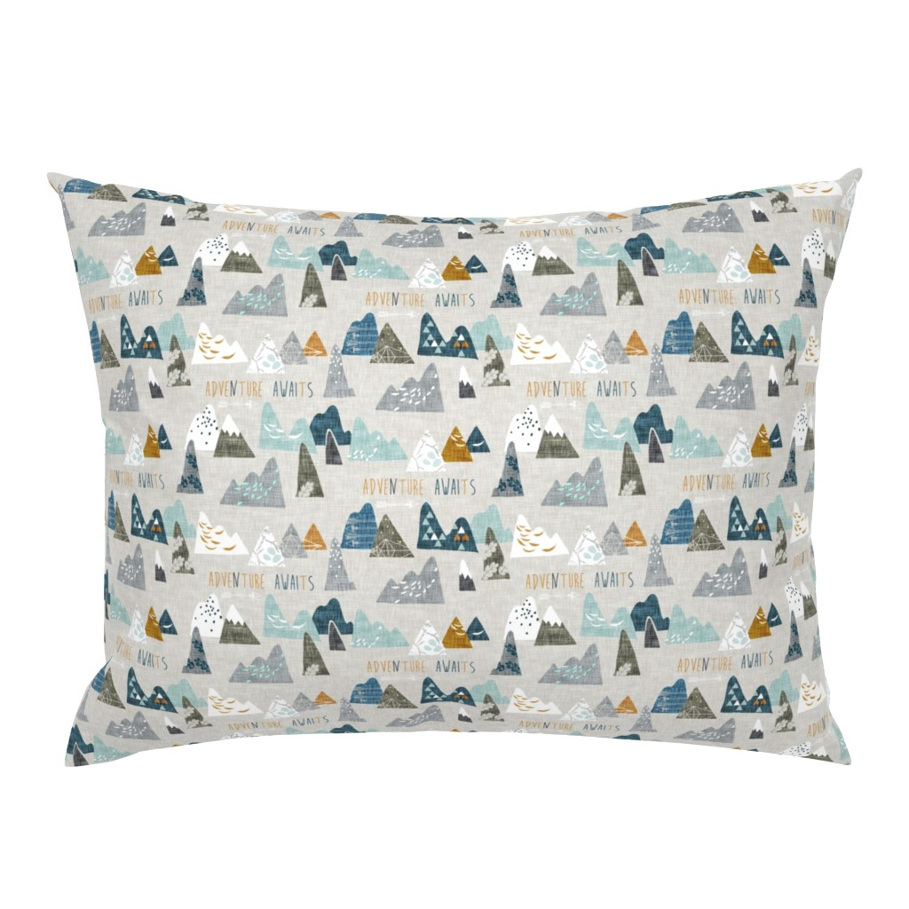Campine Pillow Sham featuring Adventure Awaits (earth) SMALL by nouveau_bohemian
