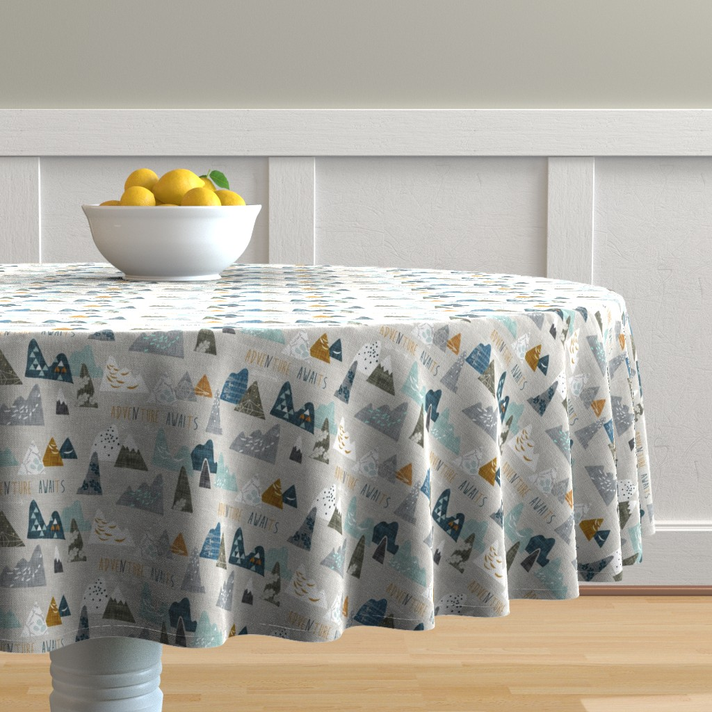 Malay Round Tablecloth featuring Adventure Awaits (earth) SMALL by nouveau_bohemian