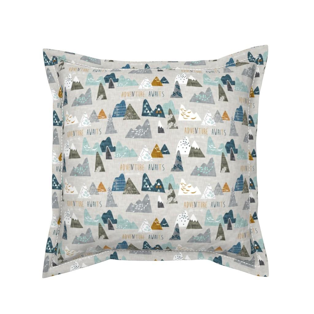 Serama Throw Pillow featuring Adventure Awaits (earth) SMALL by nouveau_bohemian