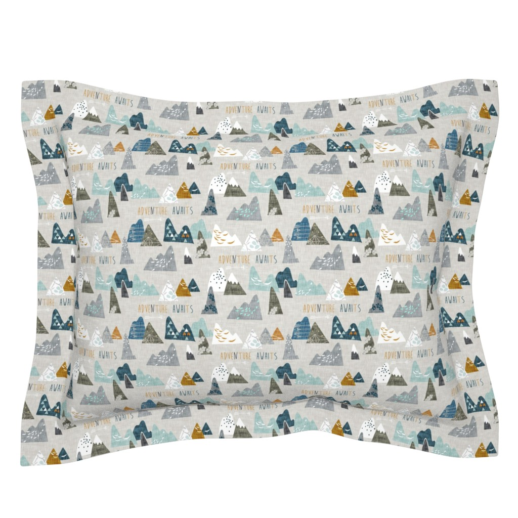 Sebright Pillow Sham featuring Adventure Awaits (earth) SMALL by nouveau_bohemian