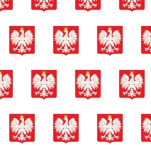 Polish Red Shield Emblem With Eagle