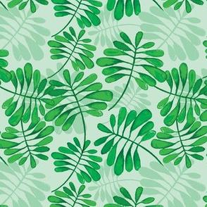 Green lush tropical leaves  summer garden pattern