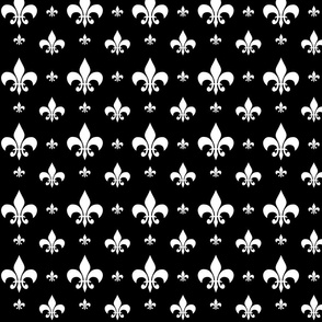 White Fleur-de-lis on Black