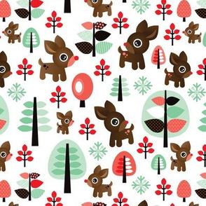 Retro reindeer christmas in powder pastel