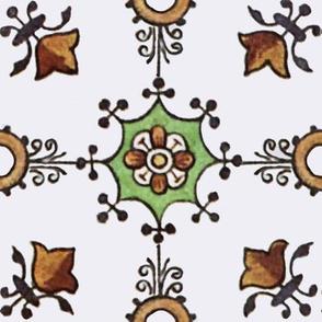 Floral Tile on White