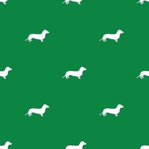 Dachshund Dots Christmas Green