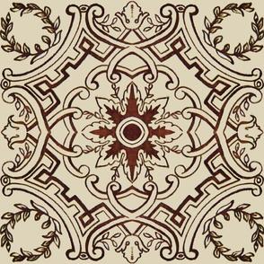 Red Art Deco Tile
