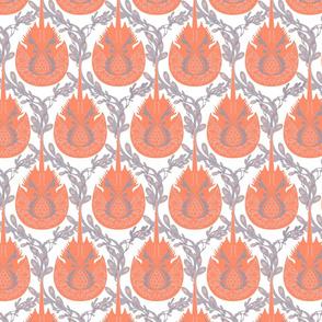 Horseshoe Crab Damask-Tangerine