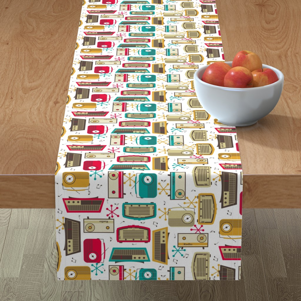 Minorca Table Runner featuring Plastic Fantastic in a Retro Kitchen! by inscribed_here