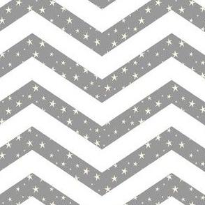 Chevron Stars, Grey and White