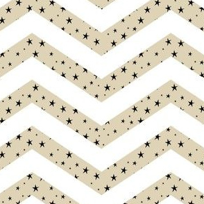 Cappuccino and White Chevron with Black Stars