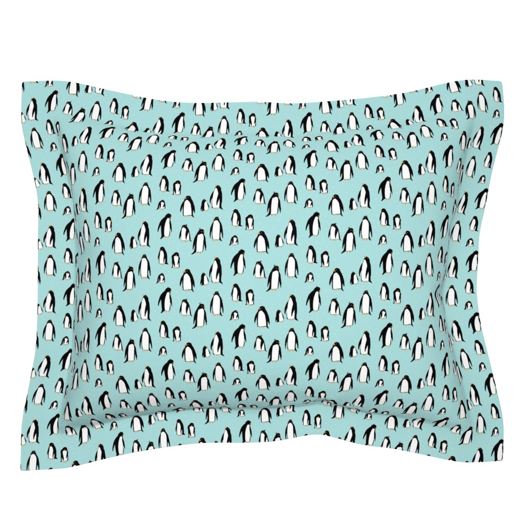 Sebright Pillow Sham featuring A Plethora of Penguins (small) blue by leanne