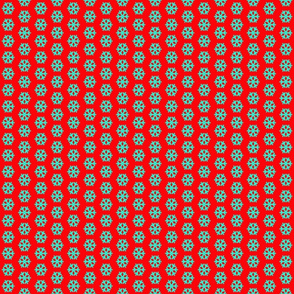 Turquoise Snowflake on Red