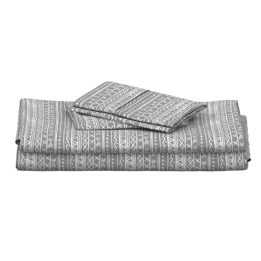 Langshan Full Bed Set featuring Chalk Tribal Stripe (gray) by leanne