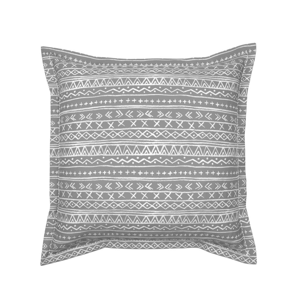 Serama Throw Pillow featuring Chalk Tribal Stripe (gray) by leanne