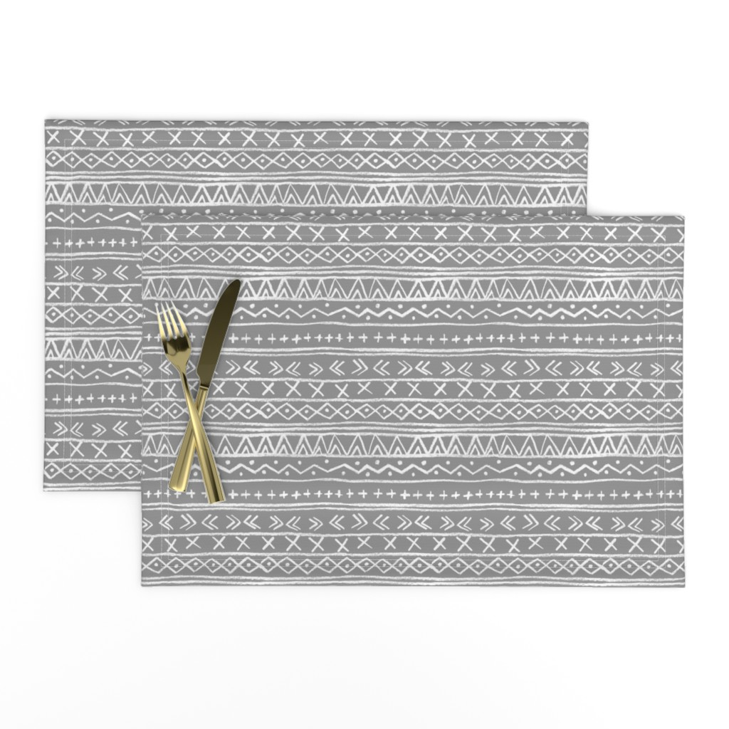 Lamona Cloth Placemats featuring Chalk Tribal Stripe (gray) by leanne