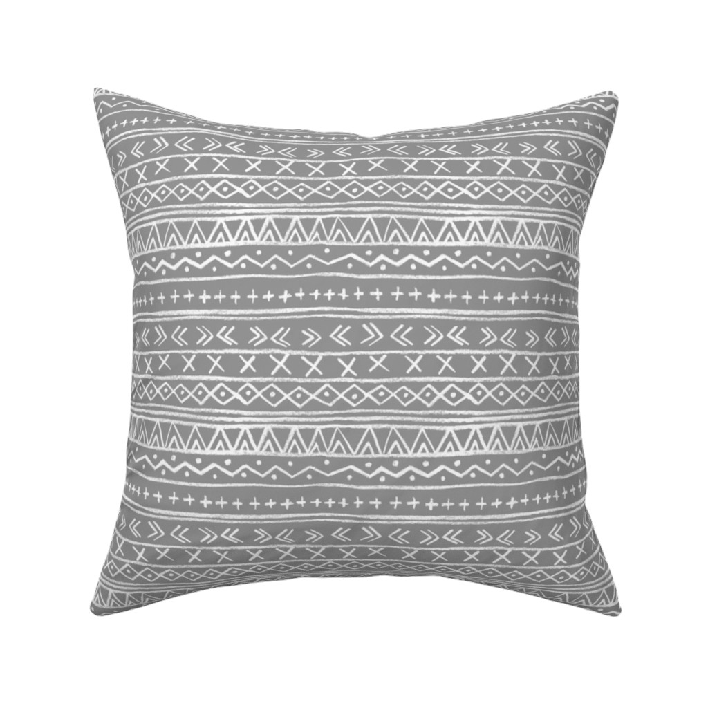 Catalan Throw Pillow featuring Chalk Tribal Stripe (gray) by leanne