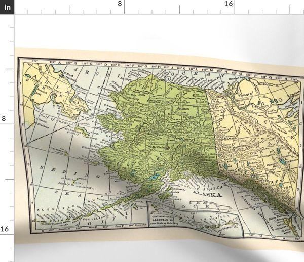 Alaska Vintage Landkarte Spoonflower
