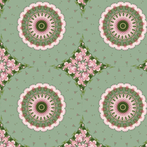 Pink and Green Flower Kaleidoscope