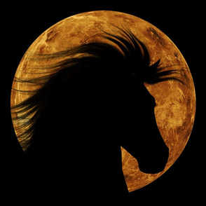 Horse Silhouette with Moon Background