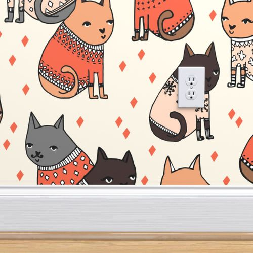 Cats In Sweaters Holiday Christmas Sw Spoonflower