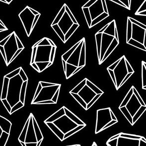 crystals // black and white gem design gems fabric gemstones fabric