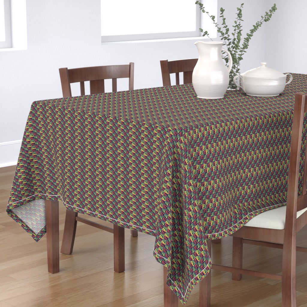 Bantam Rectangular Tablecloth featuring Turntables red and yellow by susiprint