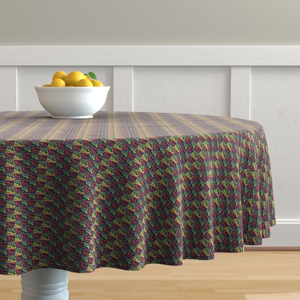 Malay Round Tablecloth featuring Turntables red and yellow by susiprint