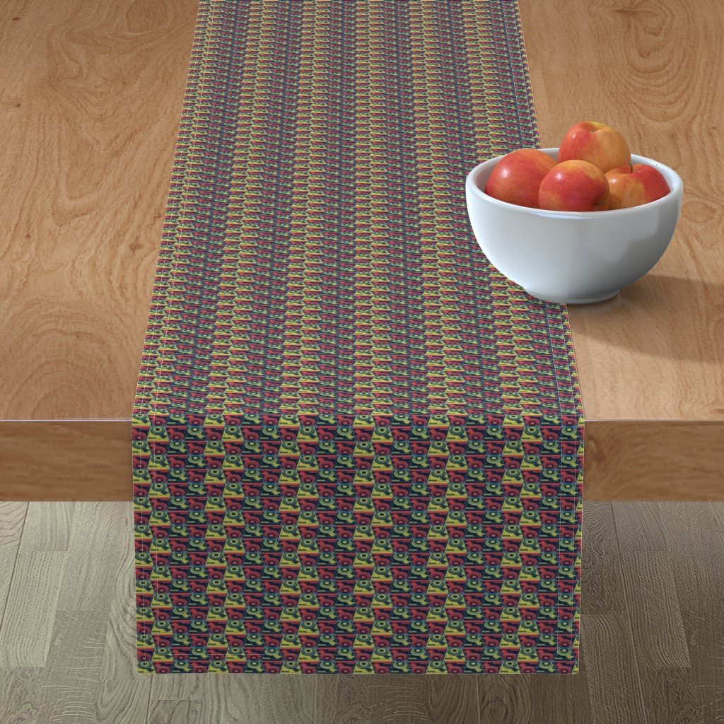 Minorca Table Runner featuring Turntables red and yellow by susiprint
