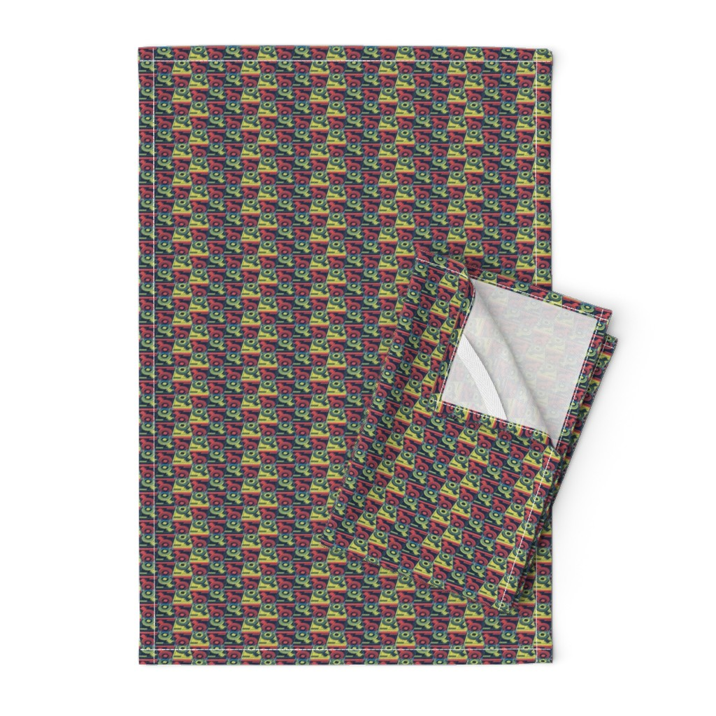 Orpington Tea Towels featuring Turntables red and yellow by susiprint