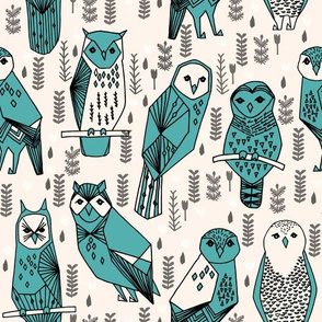 owls // hand-drawn owl bird illustration original designs by Andrea Lauren