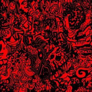 Black & Red Doodle Pattern