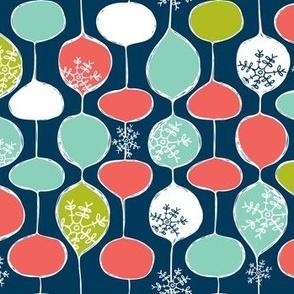 Snowflake Holiday Bobbles - Christmas Snowflake Geometric Remix Navy Blue