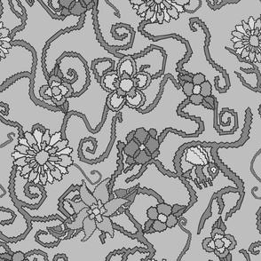 Light Grey Pixelated Bumble Bees