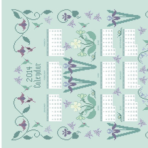 2014 Cross-stitch Garden linen teatowel calendar 2014 - SEAFOAM161