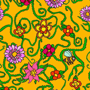 Bees-yellow-Leaves-and-Flowers