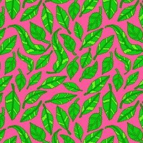 Green pixel leaves on Pink