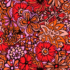 Orange  and Pink Hippy Flowers
