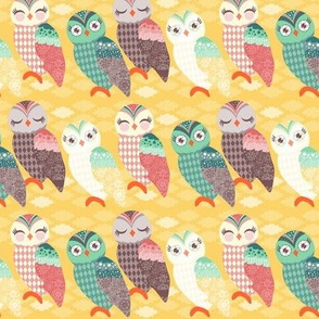 How Now Owls - Cool Pastels on Goldenrod