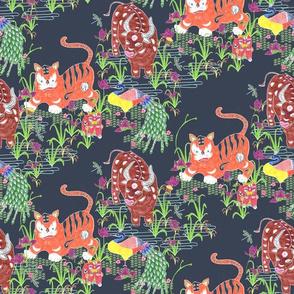 Tiger Ox Paper Cut (dark, small scale)