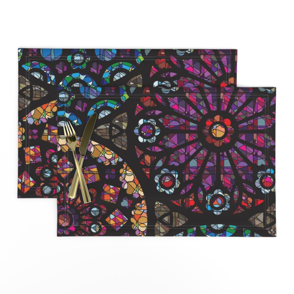 Lamona Cloth Placemats featuring Stained Glass Rose Windows by sammyk