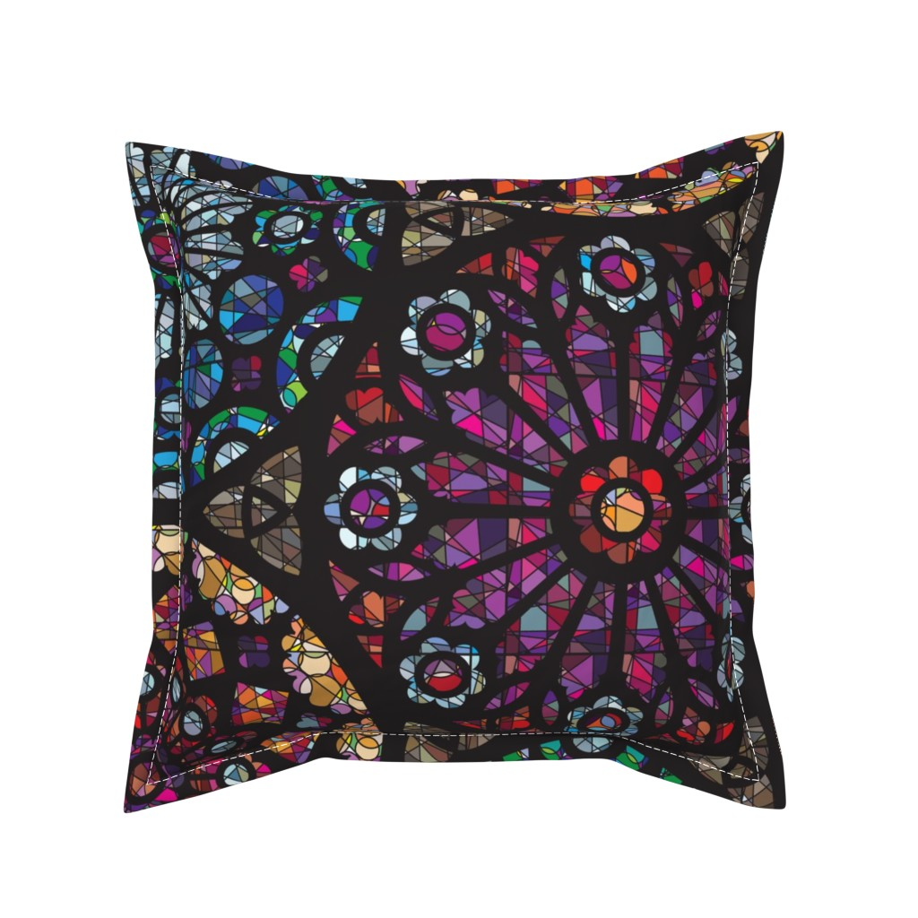 Serama Throw Pillow featuring Stained Glass Rose Windows by sammyk