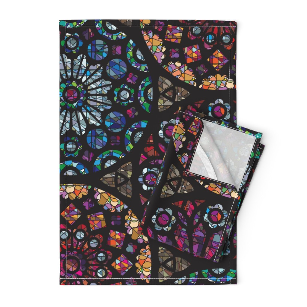 Orpington Tea Towels featuring Stained Glass Rose Windows by sammyk