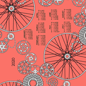 2020 bicycle parts tea towel calendar on coral