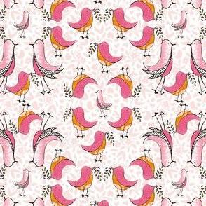 Pink Birds on flowers